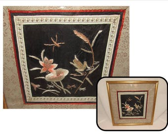 Vintage Framed Embroidered Chinese Panel of Frog, Bug and Flowers on Silk, Asian, wall art