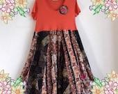 L XL 1X Stunning boho tunic dress corduroy patchwork. Upcycled Refashioned Preloved Refashion Recycled Clothing Plus Size Extra Large