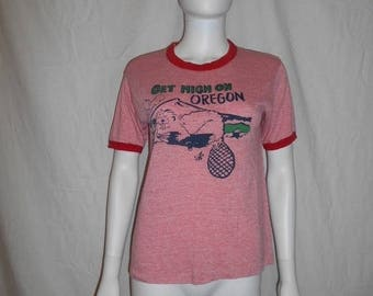 Vintage 70s 80s  tee t shirt  Get High On Oregon