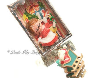 Santa And Mrs. Claus Necklace Winter Holiday Christmas Necklace Soldered Box Mixed Media One-of-a-Kind Diorama Pendant
