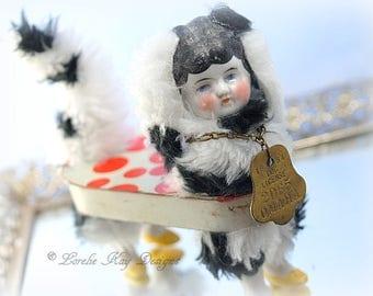 Scarlett Puppy Dog Art Doll Anthropomorphic Tin Assemblage Art Doll Girl Dalmation Dog Lorelie Kay Original