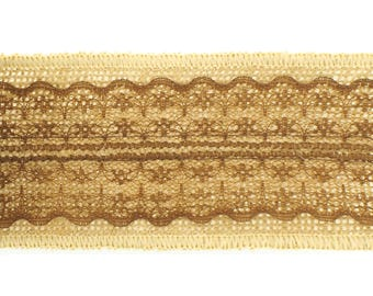 """DESTASH - 2.5"""" Burlap Ribbon with Brown Lace - 1 pack (6 rolls - 2 yards per roll)"""