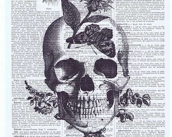 Skull.skeleton.catrina.flower.Gift,French.Antique Book Page Print,buy 3 get 1 free.home deco.steampunk.goth.day of dead.dia de los meurtos.