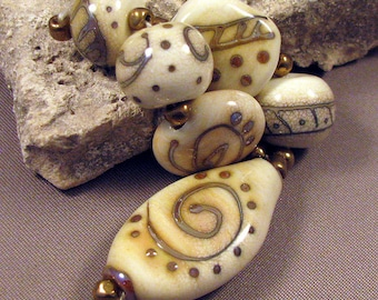 Handmade Lampwork Beads by Monaslampwork - Sizzling Ivory - Lampwork Glass Beads Ivory with Metallic Designs by Mona Sullivan Boho Organic