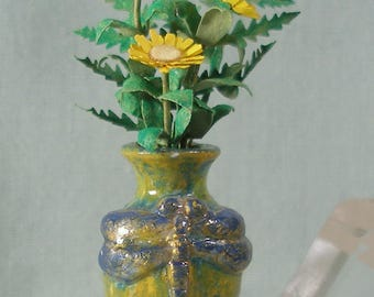 Tall Dollhouse Miniature Dragonfly Vase With Yellow Aster in 1:12 Scale