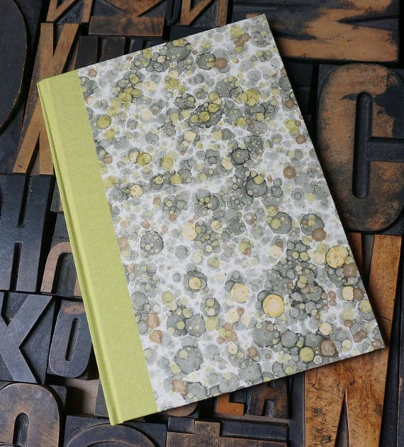 Baby Book - Marbled Paper in Gray and Green