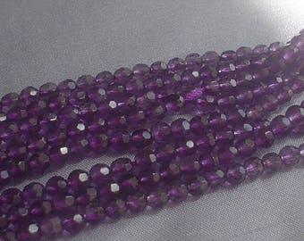 natural gemstone purple amethyst faceted round bead 6 mm / 15 inch
