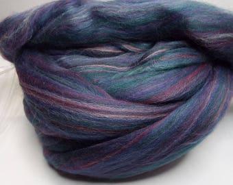 Polwarth, Purples, 4 ounces, fiber, spinning fiber, spindle spinning, spinning, roving, top, Ashland Bay, Threadsthrutime