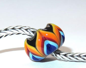Luccicare Lampwork Bead - Rainbow III -  Lined with Sterling Silver