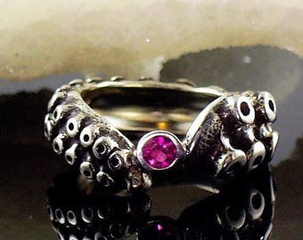 SALE SALE - Tentacle Ring, Engagement Ring, Wedding Band, Sterling Ring, Silver Octopus, - OctopusME Ruby Ring