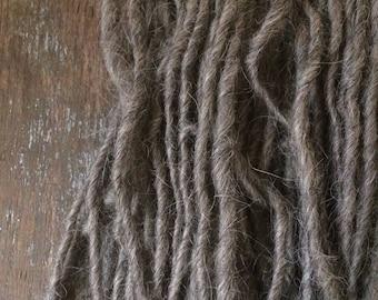 Black Walnut Dyed, handspun alpaca and wool, sandy heathered tan yarn, 74 yards, bulky handspun natural local fiber, eco friendly art yarn