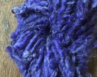 Hyacinth, 46 yards handspun yarn, periwinkle purple art yarn, lockspun yarn, curly handspun yarn,