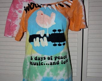snip snip its my birthday rainbow tie dye Woodstock 3 days of peace music and love cut up shredded backless t shirt handmade to fit you