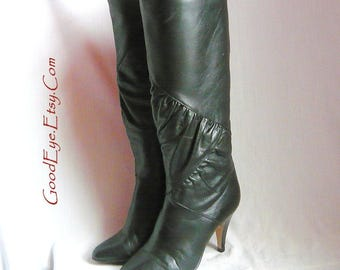 Raving 80s Pull On SLOUCH High Heel Boots / size 5 .5  Eu 35 .5 UK 3 / Black Leather 1980s Ruched Stovepipe  / made in SPAIN