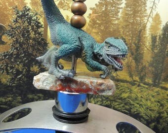 Dinosaur Velicoraptor,  Wine stopper on Genuine Coprolite, Gift, Wine tasting, Dinophile, stocking stuffer