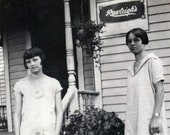 vintage photo 1926 Young Beauty Teen Girls by House Rawleigh Sign Door to Door Sales