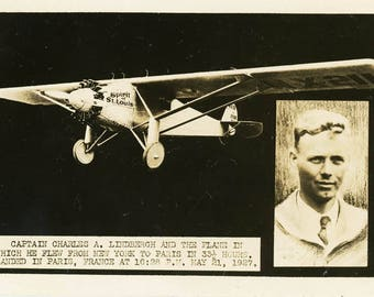 vintage photo Charles Lindbergh Spirit of St Louis RPPC
