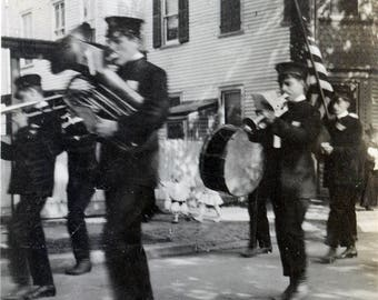vintage photo 1920s Young Men All American Marching Band Parade Flag Main Street