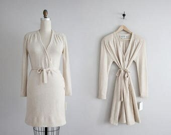 25% OFF SALE cashmere  dress | beige wool dress | wrap dress