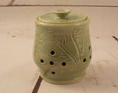 Stoneware Garlic Keeper - Handmade Ceramic Pierced Canister - Lidded Shallot Jar  - Kitchen Storage Essential - Carved Celadon Green  s547