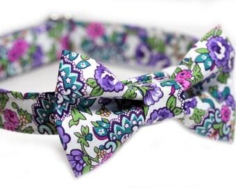 Purple Flower Bow Tie Collar, Doggy BowTie Collar - Flowerista