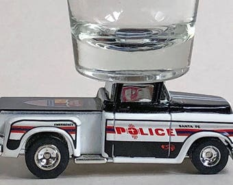 the Original Hot Shot shot glass, '56 Chevy, Pick Up, Santa Fe Police,  Hot Wheel car