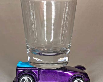 the Original Hot Shot shot glass, Mfg. for McDonalds, Surf Rod, Roadster, Mattel Car