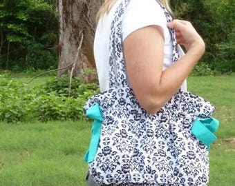 SALE Drawstring Tote Bag - easy pdf purse sewing pattern - instant download