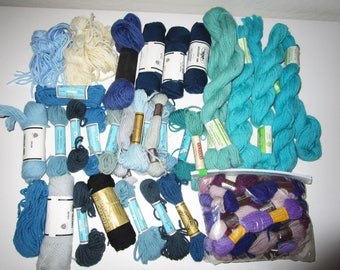 Vintage Wool Needlepoint Yarn - Tapestry Yarn - Assorted Vintage Yarn - Blues Aqua Purple Violet Lot - 40 Skeins