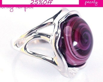 Silver Sterling 925 Ring - Circle Ring - Unique Pink ring -Lampwork Jewelry - Glass Bead Jewelry - Beadwork Jewelry - Beaded Jewelry