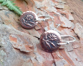 Tiny Daisy Earrings, Daisy Drop Earrings, Copper, Sterling Silver, Gift for Her, Everyday Jewelry, Rustic Jewelry