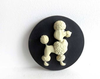 """Vintage Chalkware Poodle Wall Hanging, Black and White Wall Art, Mid Century Wall Plaque, 6"""" Raised 3D French Poodle Dog, MCM wall decor"""