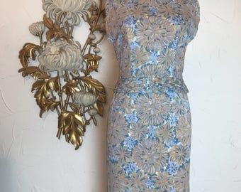 1960s dress leslie fay dress wiggle dress sleeveless dress jackie o dress sheath dress mad men dress hourglass dress 27 waist