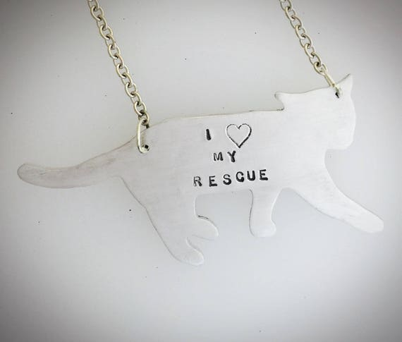 Cat Rescue Necklace-I Heart my Rescue Cat necklace-Vegan-Cat Lover Jewelry-Kitty Necklace-Cat Rescue-Pet Memorial-Personalized-Eco Friendly