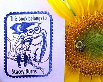 Super Summer Sale Fairy Tale Owl with Little Girl Personalized Ex Libris Bookplate Rubber Stamp G19