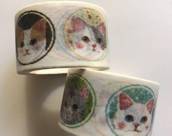 Cat washi tape, cute cat washi tape, kawaii cat washi tape, kawaii animal washi tape, cat portrait, cat lover gift
