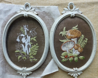 Embroidery kit ovals Indian Pipes and Mushrooms KickstandProduction