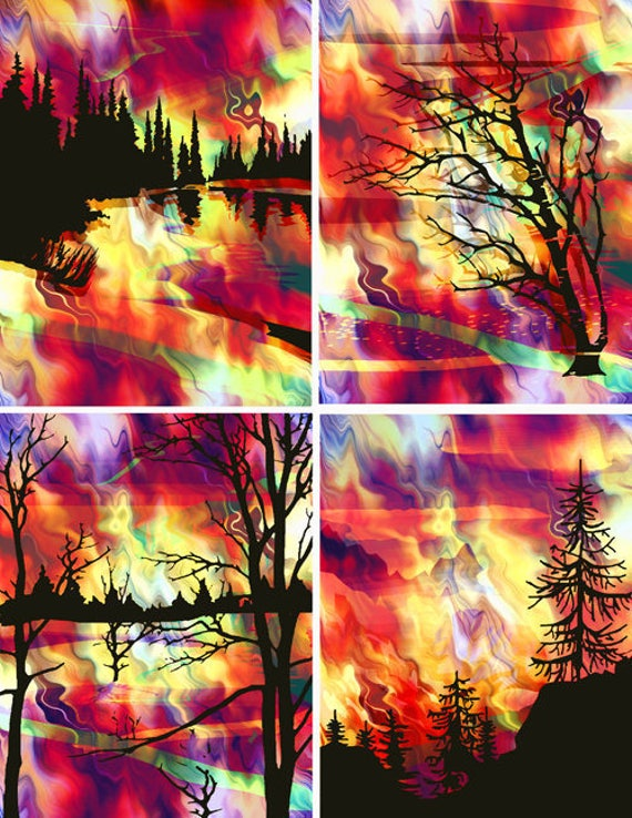 SALE Artist Made Red Sunset Fire Sky 4 Fabric 100% Cotton Sateen Art Prints Landscape Trees Quilting Craft
