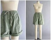 90s lounge shorts | vintage 1990s sage green high waist shorts | vtg 90s cotton shorts | medium