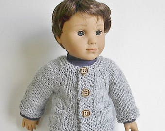 "18"" Boy Doll Clothes Knit Light Grey Cardigan Sweater with Pockets Handmade to fit AG Boy Doll Logan and Other similar dolls"