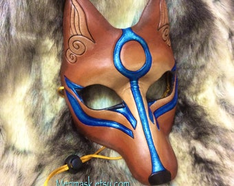 READY TO SHIP Colorful Kitsune Mask... Japanese Fox Leather Mask masquerade costume Halloween Mardi Gras Burning Man