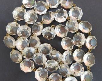 Vintage Chandelier Crystal Strands Faceted Clear Glass