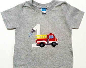 Fireman Birthday - Firetruck Birthday - Birthday Shirt - Numbers 1-9 - Firefighter Party - First Birthday - Fire And Rescue - Fire Station