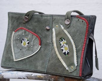 Unique Gray Green Leather Bag - Leather Shoulder Bag - Leather Handbag - Women's Leather Bag - German Girl's Leather Lederhosen Upcycled
