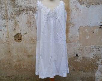 Antique  1850/1900 Victorian Edwardian French white cotton hand embroidered / underdress /dress/ size L/XL