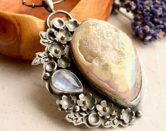 Fossil Druzy Necklace, Statement Jewelry, Moonstone Necklace, Handmade Silver Necklace, Flower Jewelry, Botanical Silver Pendant