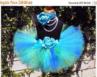 SUMMER SALE 20% OFF blues and greens tutu and flower headband set - Save The Earth - Earth Day Tutu Set includes a custom sewn 8'' tutu and