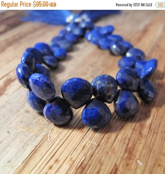 Summer SALEabration - Lapis Lazuli Gemstone Beads, 4 Inch Strand of Natural Lapis Briolettes, 9.5mm x 9.5mm, Blue Beads for Making Jewelry (