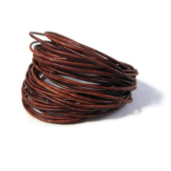 5 Feet of Natural Red / Brown Siena Leather, 0.5mm Round Cord For Jewelry, Craft Supplies, Delicate Leather, Natural Leather (F-16c)