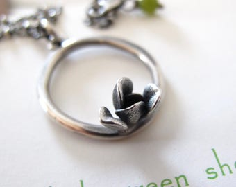 Succulent Necklace - sterling silver circle necklace with tiny succulent